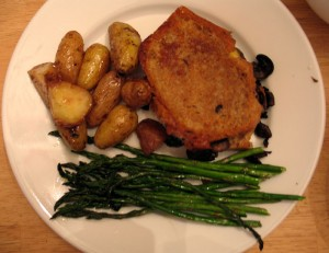 New potatoes with lemon, roasted asparagus, and grilled cheese with mushrooms