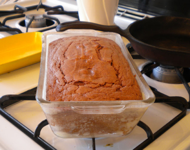 buttermilk chocolate loaf cake at high altitude