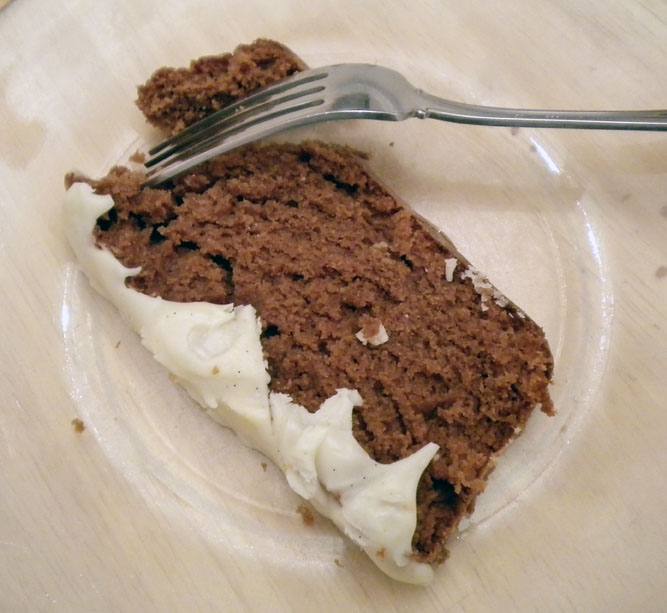 buttermilk chocolate cake with vanilla frosting