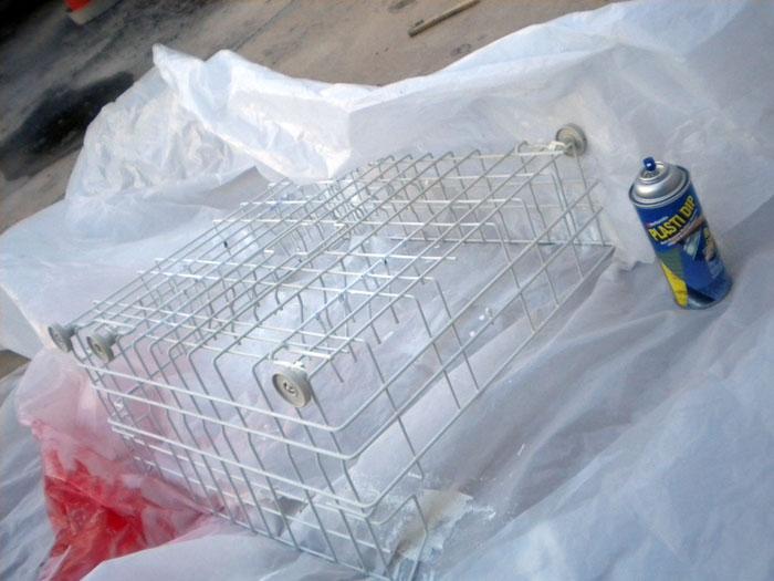 Using Plasti Dip to recoat the dishwasher racks.