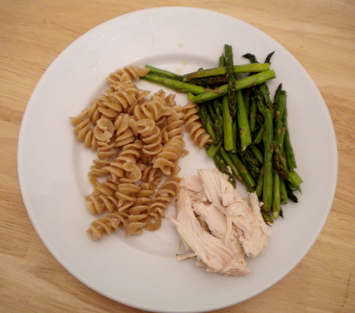 Roasted chicken, asparagus, and noodles- the week of the chicken