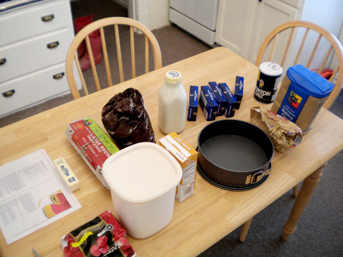 Getting ready to make the cheesecake.