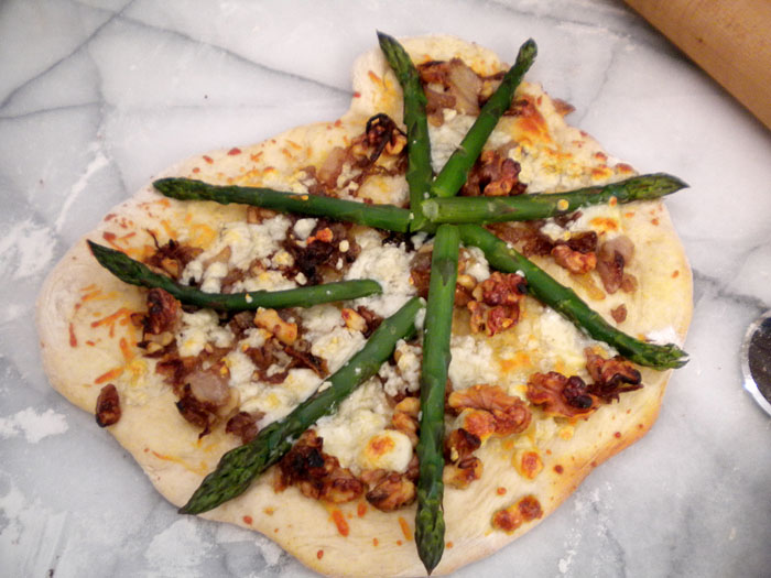 Pizza with carmelized onions, blue cheese, and asparagus