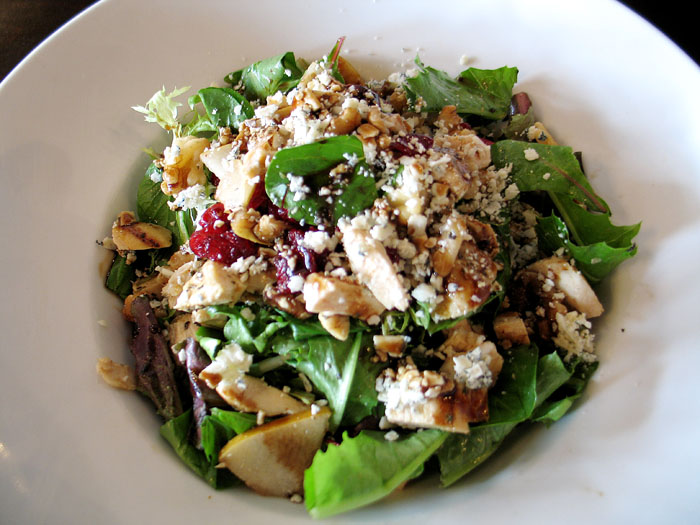 I had a salad with pears, cranberries, gorgonzola, and balsamic. I also added chicken to it.