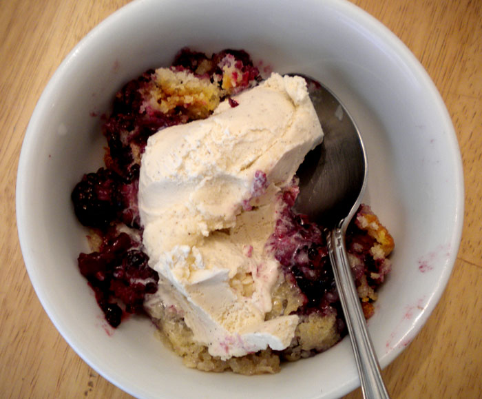 Blackberry cobbler with vanilla ice cream.