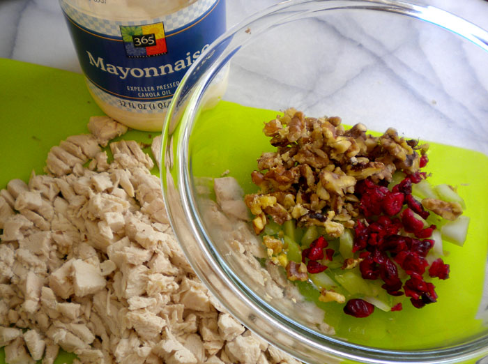 Chicken salad with walnuts and dried cranberries.