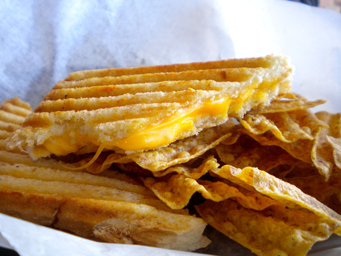 Classic grilled cheese sandwich, with Sunchips at Squeak Soda Shop, Colorado Springs