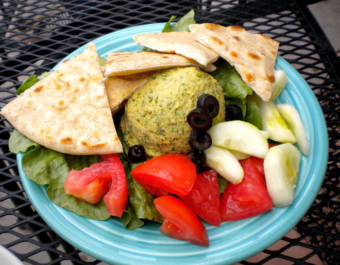 Hummus plate from Rico's/Poor Richard's. Colorado Springs