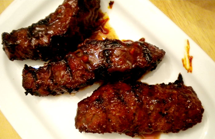 Grilled boneless beef short ribs.