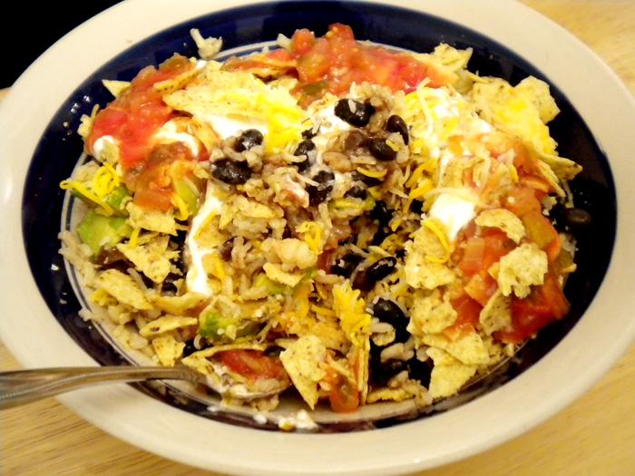 Black bean, rice, veggie bowl