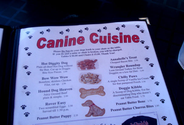 Dog menu at Park Bench Cafe