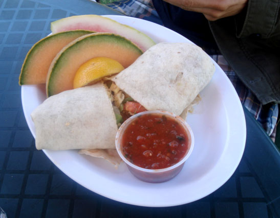 Breakfast burrito at Park Bench Cafe