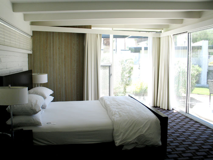 A guest room at The Horizon Hotel, Palm Springs