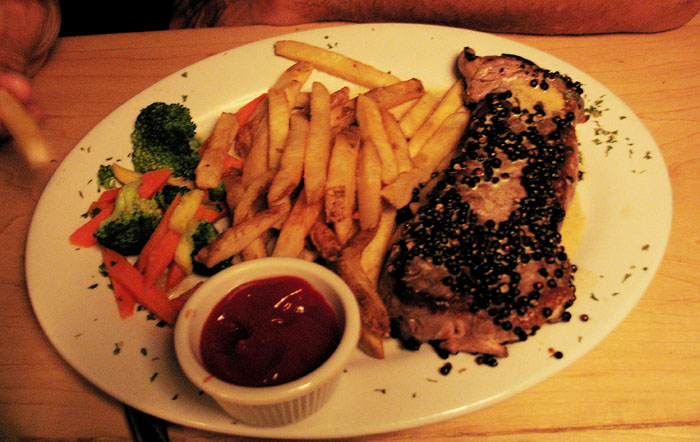 Peppercorn steak, Roscoe's, Palm Springs