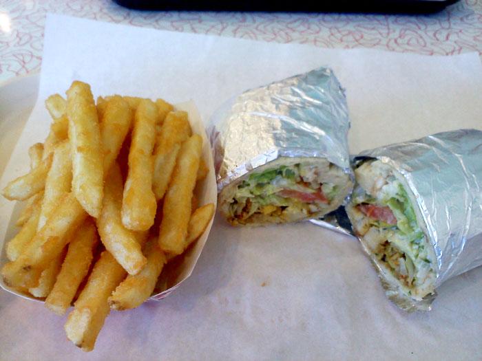 Chicken sandwich and fries at Taste Of Jerusalem