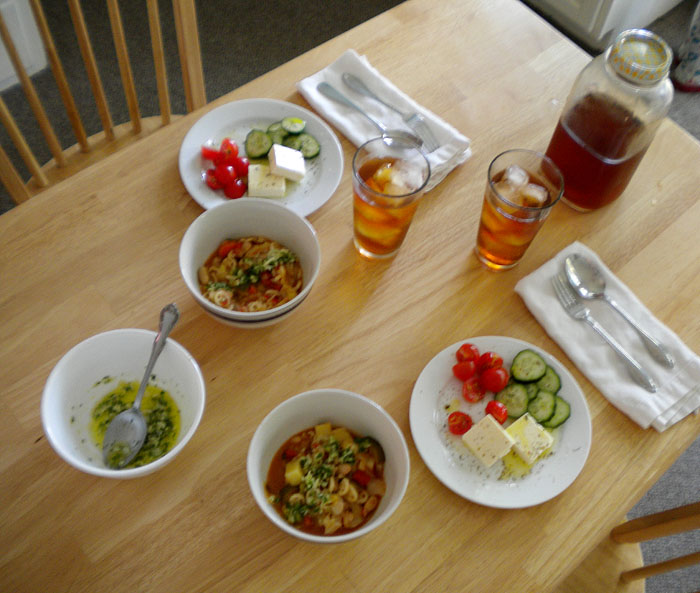 Minestrone soup and greek salad