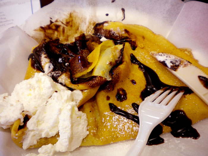 Almond butter, chocolate, and banana crepe, Paris Crepe, Colorado Springs, CO
