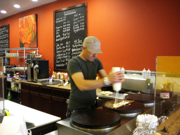 One of the owners making a crepe, Paris Crepe, Colorado Springs, CO