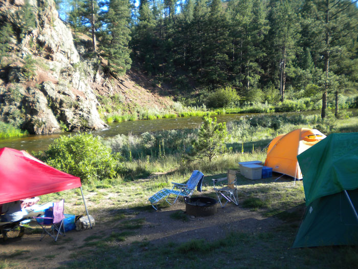 Our campsite at Lone Rock Campground, Deckers, CO