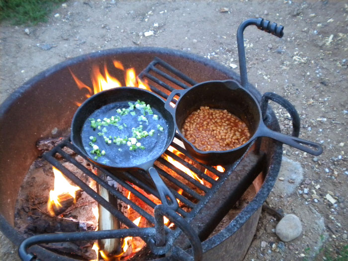 Cooking over an open fire is the best.