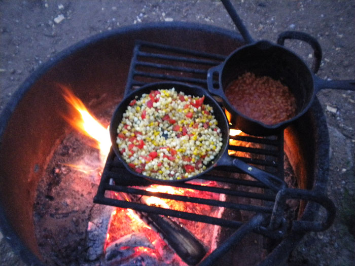 Confetti corn and baked beans.