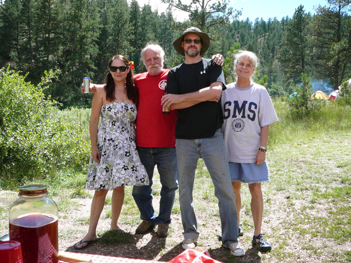 Our new rock band! Me, Uncle Joe, Mike, Mike's mom Linda at Lone Rock Campground, Deckers, CO