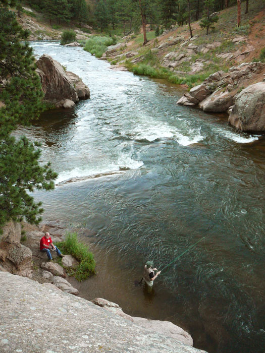 Fishing on the South Platte River at Deckers, CO