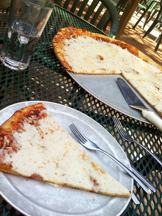 The best pizza in town, sitting on the back patio, Rico's, Colorado Springs, CO