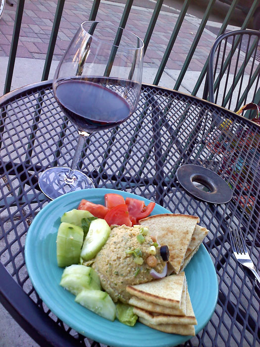Hummus plate and a malbec on the sidewalk, Rico's, Colorado Springs, CO