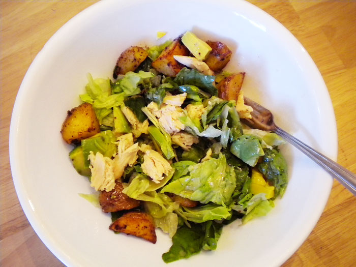 Chicken and potato salad, no mayo