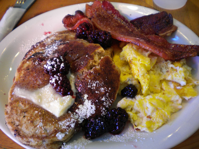 Whole grain pancakes with blackberries, scrambled eggs, and bacon, Smiley's, Colorado Springs, CO