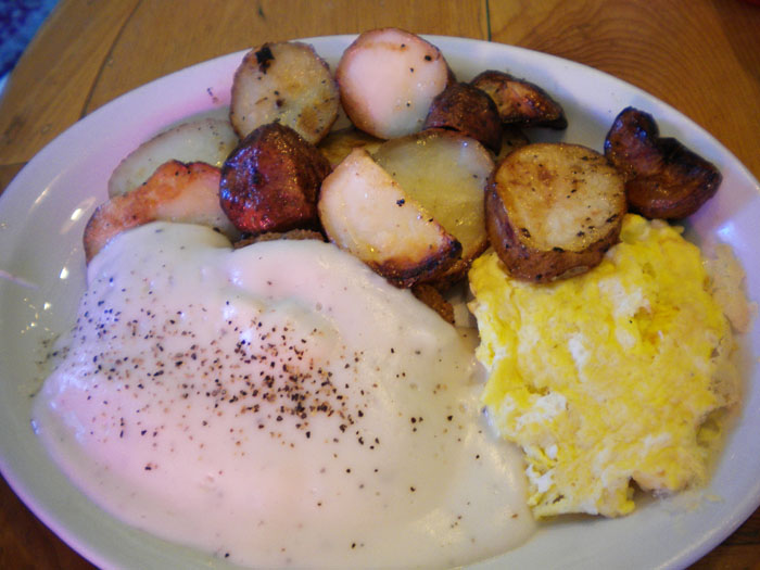 Chicken fried steak, potatoes, and scrambled eggs, Smiley's, Colorado Springs, CO