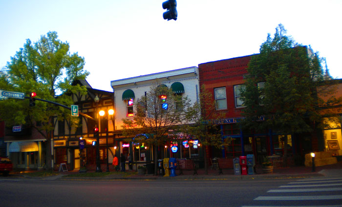 A brisk fall day in Old Colorado City at dusk.