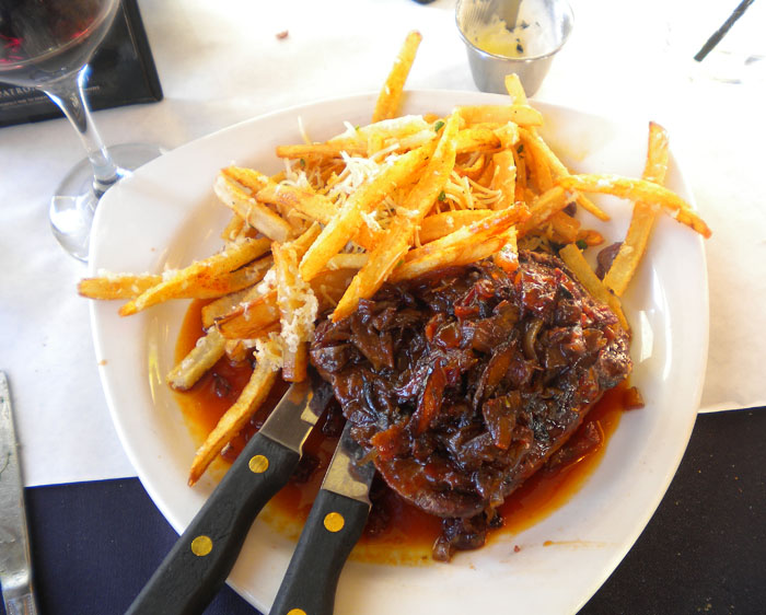 Flatiron steak and fries from The Ritz, Colorado Springs, CO