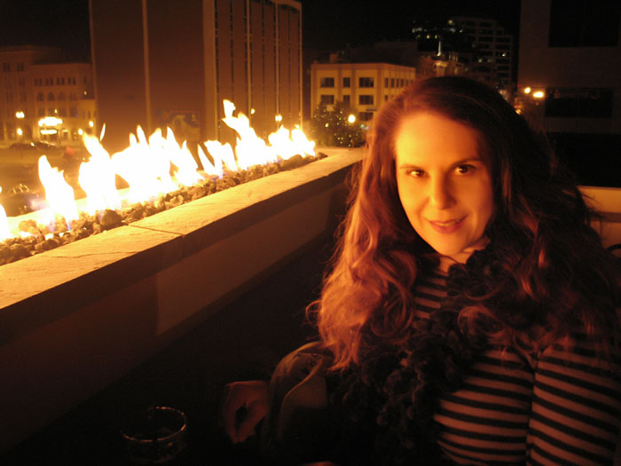 The bar with fire on the roof, Level 320 lounge, Tejon Street, downtown Colorado Springs, Colorado.