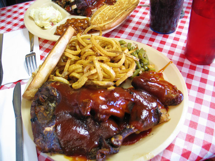 Chicken dinner at Charlie's Pit Bar-B-Que, Colorado Springs, Co.