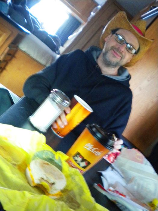 McDonald's breakfast in the Walmart parking lot, day one.
