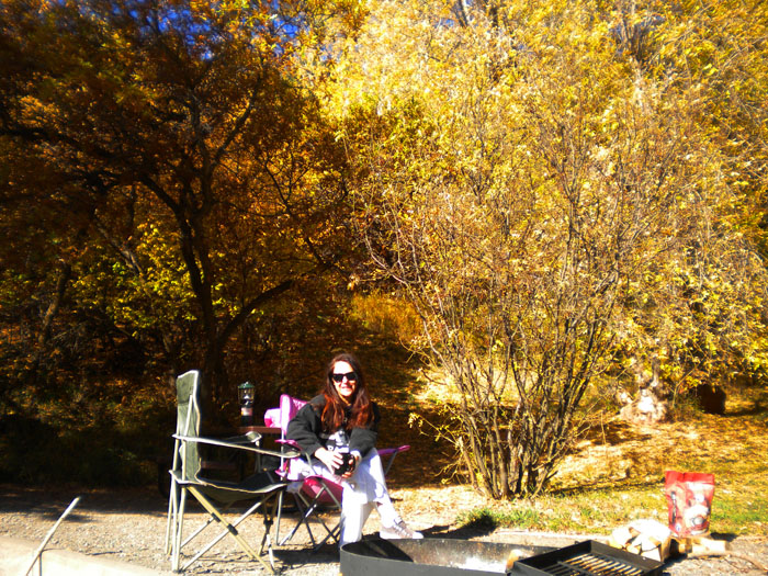 Drinking coffee by the campfire, Rifle Falls State Park, Rifle, CO