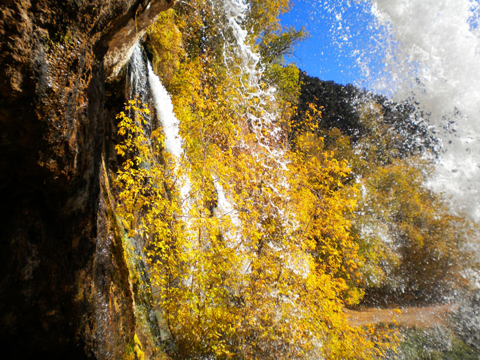 Behind the falls at Rifle Falls State Park, Rifle, CO