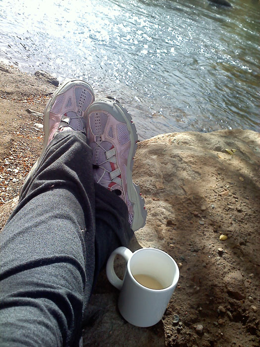 I sat on a rock and drank tea while Mike fished.