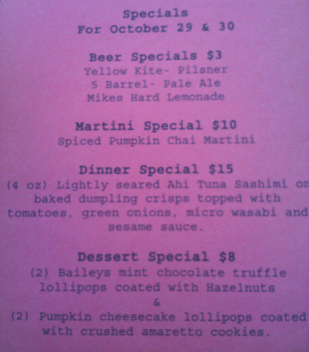 Specials menu at Motif, Old Colorado City, Colorado Springs, CO