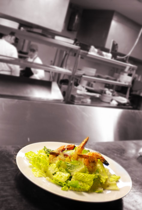 Salad ready to go from the kitchen, Il Postino, Colorado Springs, CO