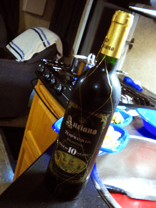 A delicious Tampranillo I brought with me that I got at Vintages last week when wine tasting.