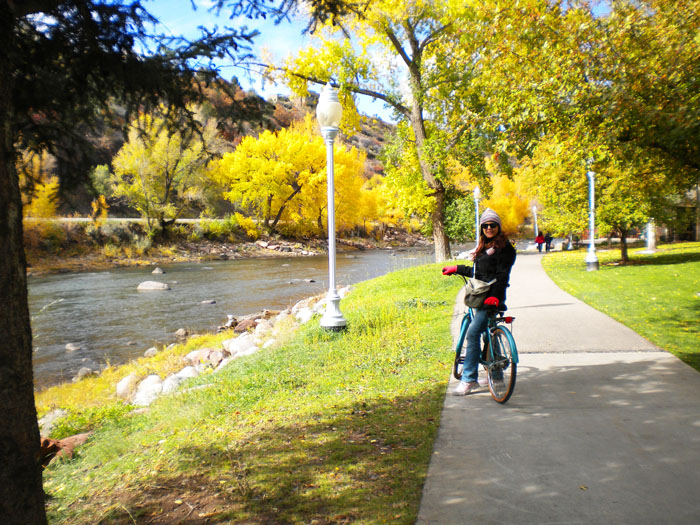 Bike ride along The Animas River, downtown Durango, CO