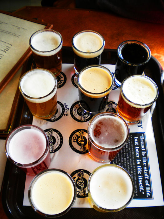Sampling all the beers at Carver's in Durango, CO