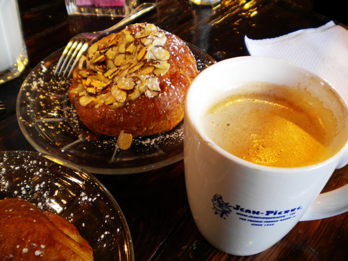 Almond croissant and latte at Jean Pierre Bakery, Durango, CO