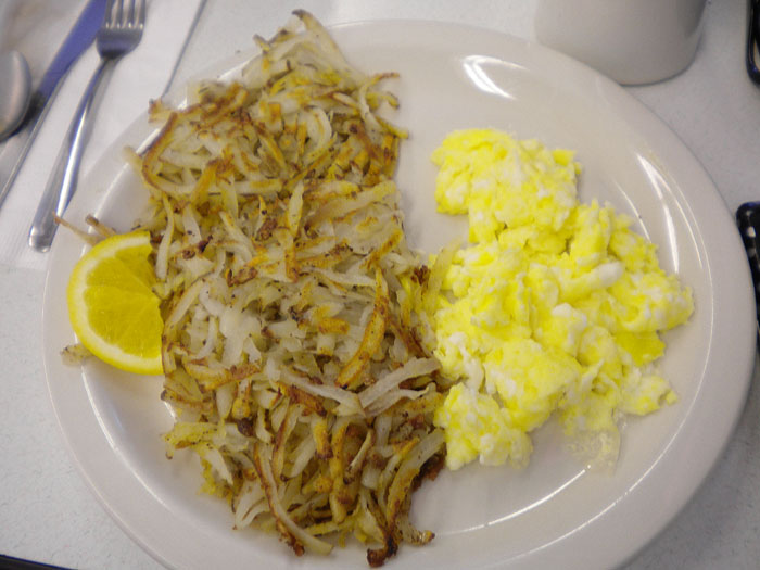 Scrambled eggs and has browns at Oscar's Cafe, Durango, CO