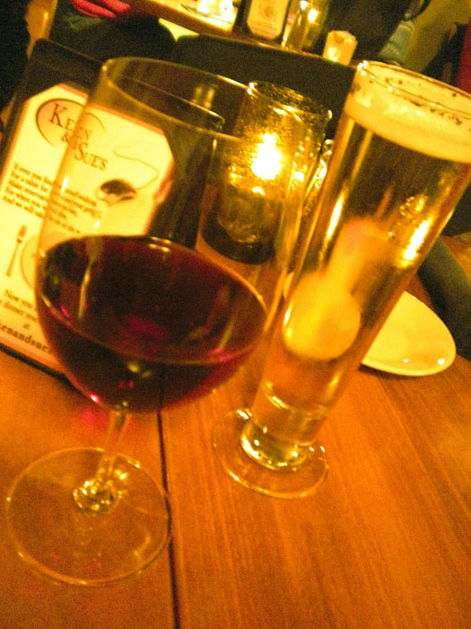 Pinot and local beer, Ken and Sue's, Durango, CO