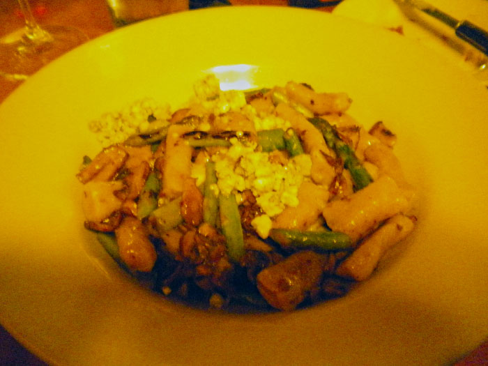 I had a potato gnocchi with mushrooms and asparagus. The gnocchi was a little doughy. But the veggies were really good.