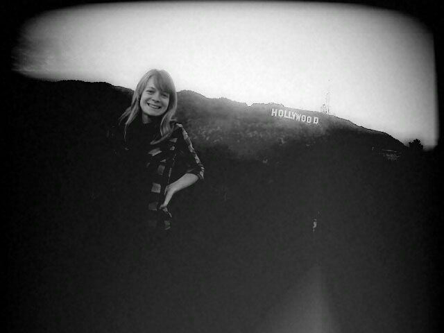 Tori at the Hollywood sign, taken with my camera phone
